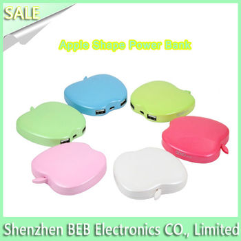 Newest selling apple shape power bank 3300mah from China's reliable supplier