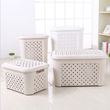 Small Multi-purpose Rattan Rectangle Plastic Storage Basket With Lid