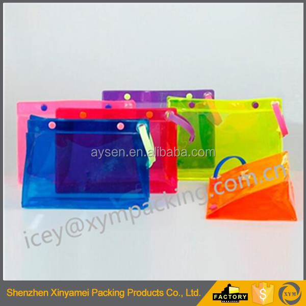 customized wholesale fashion travel clear transparent pvc zipper plastic cosmetic make up pouch with keychain eyes