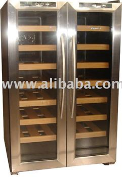 deluxe 32 bottles dual zone double doors wine cooler with. Black Bedroom Furniture Sets. Home Design Ideas