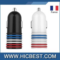 New Fashion France national Flag colorful mini usb charger in car 12v 12w dc battery car charger with smart IC