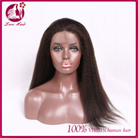 Alibaba Express Virgin Indian Yaki Long Straight Human Hair Wigs Full Lace Wig With Baby Hair