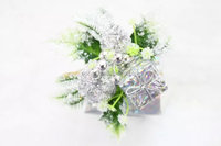 christmas decorative silver glitter floral picks