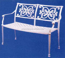 Monte carlo two seat bench cheap white metal cast alum chairs european outdoor garden metel chair