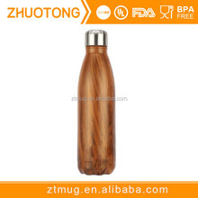 Cola shape water transfer wood pattern 500ml eco thermos