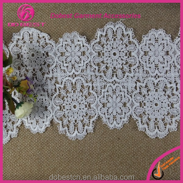Wholesale White Cotton Embroidery 19cm Wide Bridal Lace Trim