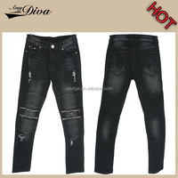 Latest design new model jeans pants custom jeans wholesale china fancy motorcycle ripped distressed jeans trousers for men