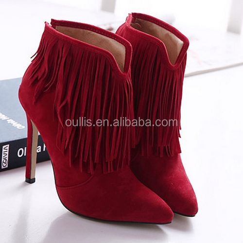 Mega March Sourcing 2017 tassels women sex PU boots ankle boots high heel boots PJ3999