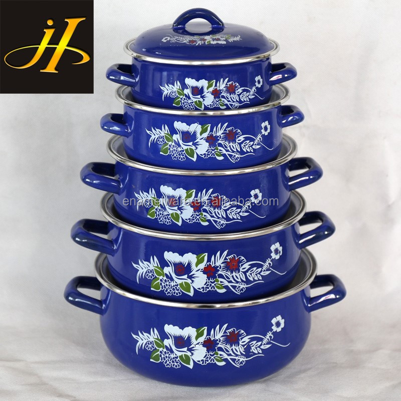 factory supply enamel pot set kitchen cookware porcelain clad casserole blue color