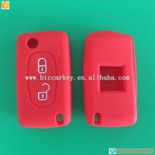 trade assurance auto key 2 button silicone key case for peugeot flip key
