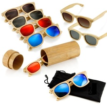 Eco Friendly bamboo wood sunglasses ready-made laser LOGO Free bamboo custom sun glasses