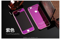 New Front + Back Full Body Electroplating Mirror Effect Tempered Glass Screen Protector For iPhone 5 5S glass film