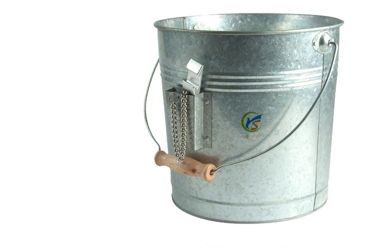 Silver colored galvanized champagne ice bucket with Opener