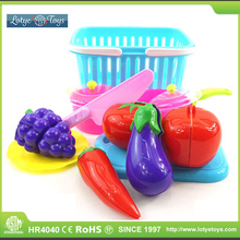 Fresh and colorful fruits plastic kids play food set cutting vegetables toy