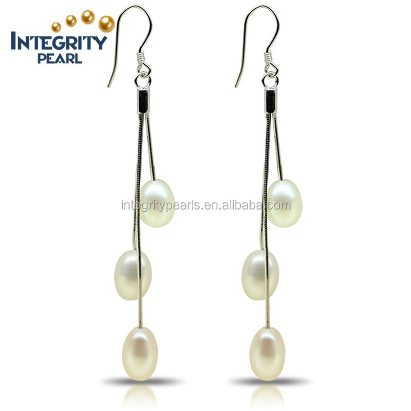 AAA Classical white rice 7.5-8mm 925 silver long freshwater dangle Pearl Earring