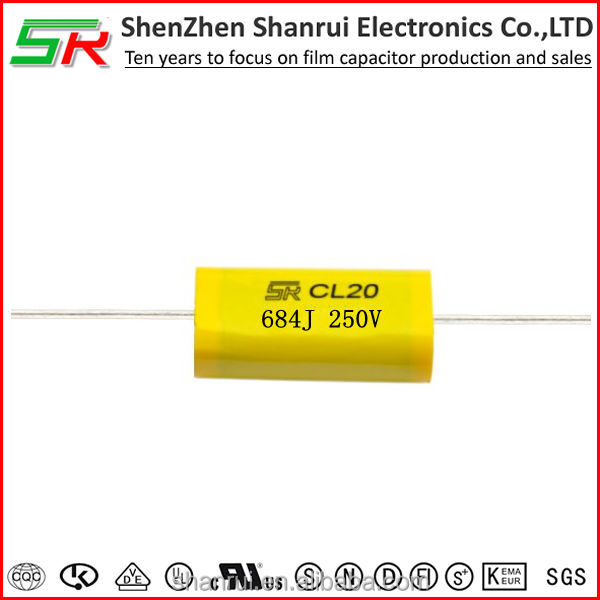 CL20 MET/MEA Metallized Polyester Film Capacitor (Axial Lead Type) 684J250V