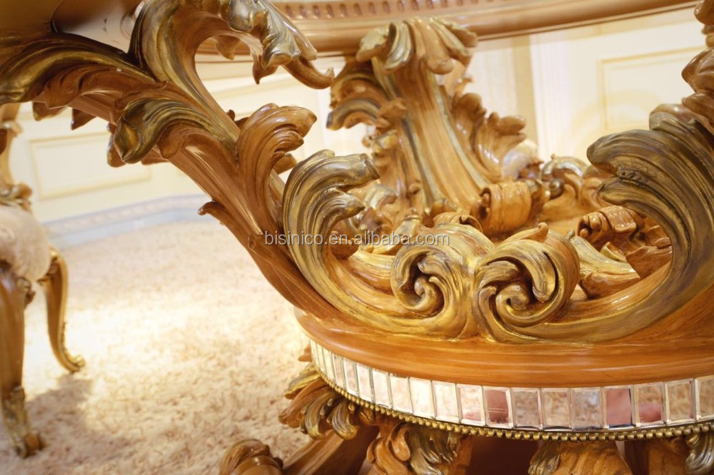 French Classical New Design Elegant Marquetry Floral Vivid Wooden Carving Dining Room Table Set European Dining Room Furniture
