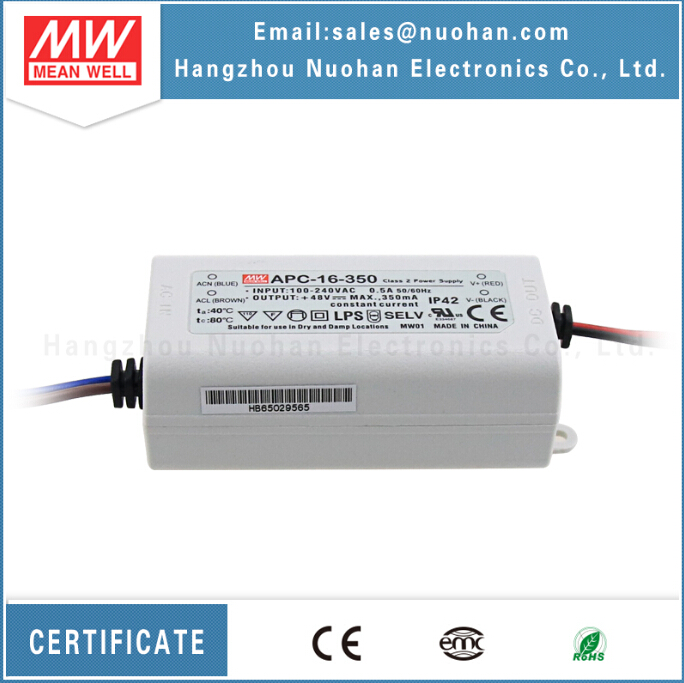 Meanwell apc-16-350 16w constant current 12v led driver 350ma
