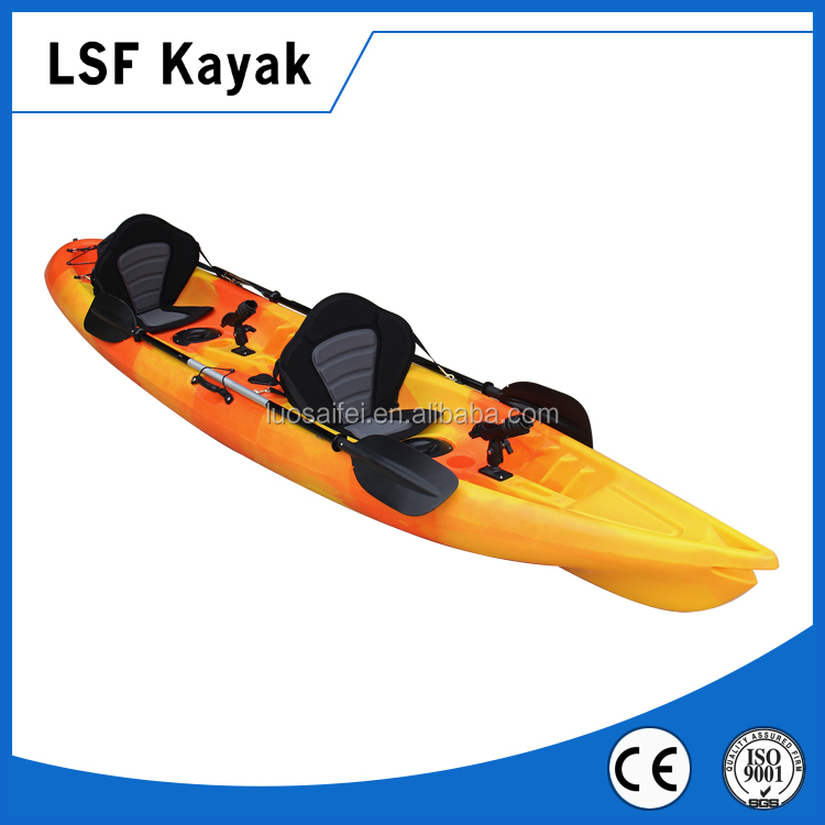 no inflatable 2 persons fishing kayak LLDPE lovers kayak boat for sale