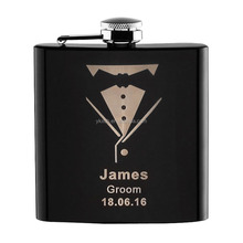 5OZ hip flask stainless steel Black spray painting metal hip flask with laser logo