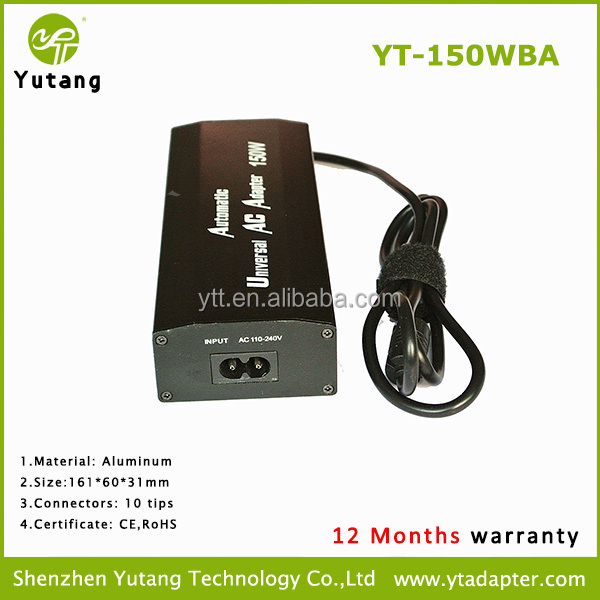 Top selling notebook aluminum 150w power supply for home use with 10 interchangeable tips