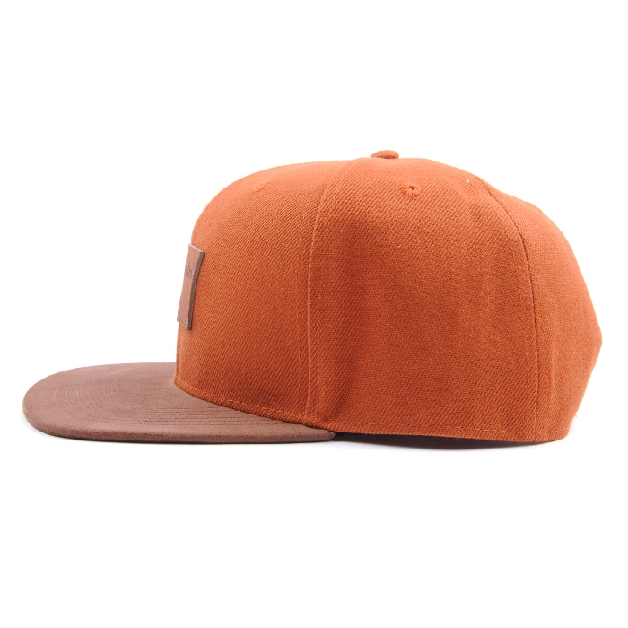 Leather Patch 6 Panel Snapback Hat,Custom Blank Suede Flat Brim Caps