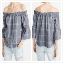 2017 Popular off-the-shoulder plaid tops bell sleeves elasticized neckline button front woman blouse