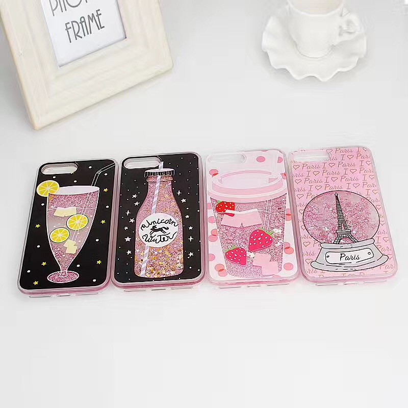 Fashion bottle quicksand case back cover for iPhone 6 6 plus 7 7 Plus