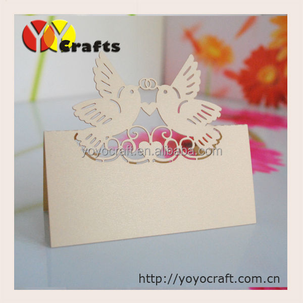 Laser Cut Paper Blank Love Doves Placement Cards Place Setting Cards wedding table card number