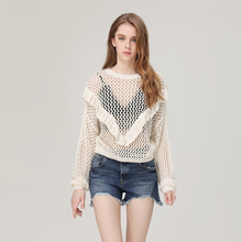 Latest Chest Frill Crochet Women Tops Design Sexy Long Sleeve Hollow Cutting Stitching Knit Casual Lady Blouse & top