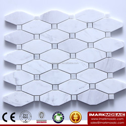 IMARK Interior Design Mixed Long Hexagon Volakas Marble Stone Mosaic Tile and Crystal Diamond Glass Mosaic Backsplash Tile