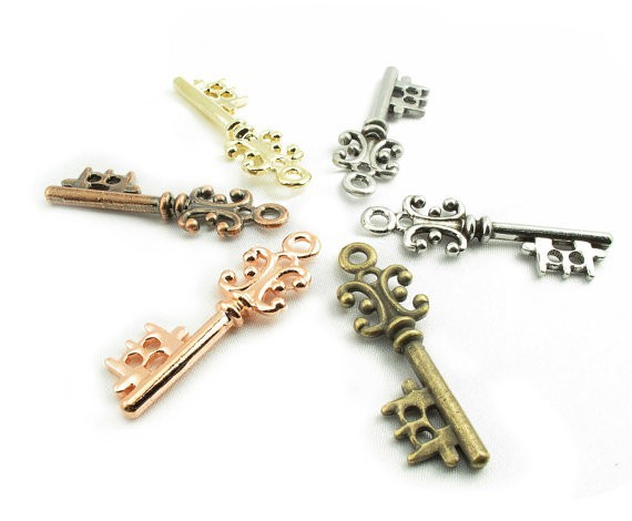 Popular metal key charm skeleton antique bronze /gold / rose gold/ silver key pendant roughly 49mm x 9mm x 5.5mm