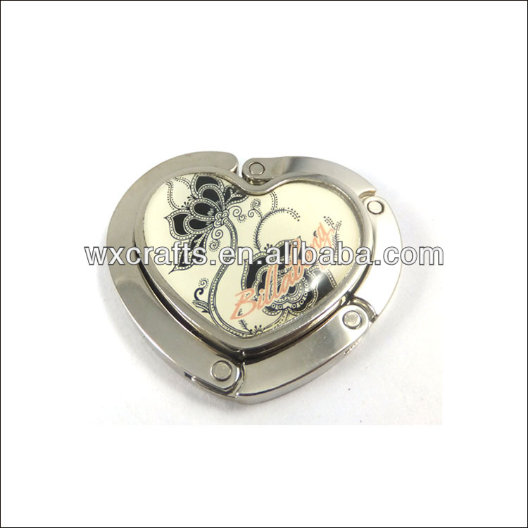 epoxy metal heart shape bag hook
