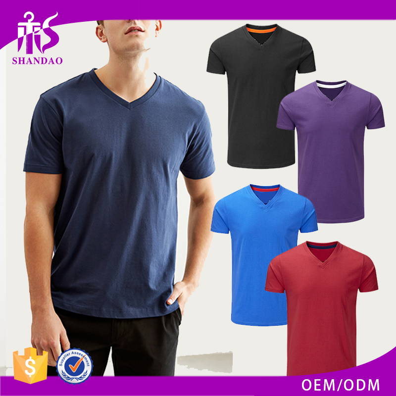 China Shandao Wholesale New Style Casual Men Multi Color 140g 60% Cotton 40% Polyester Short Sleeve V Neck T Shirts Men