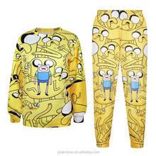 Hot sale yellow anime sublimation hoodies tall hoodies and pants set