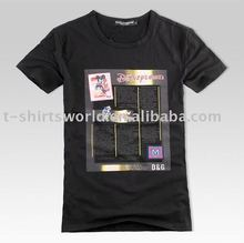 black 100% preshrunk cotton t-shirts with A4 size printing