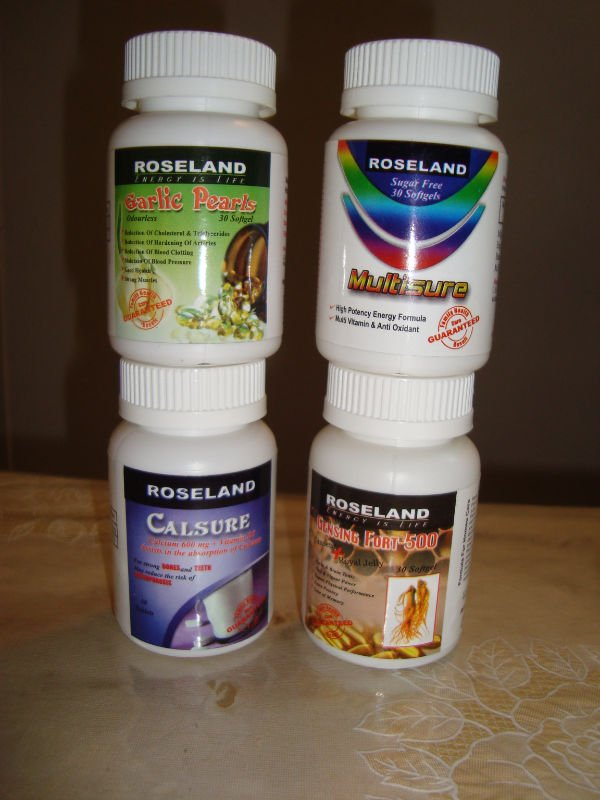 Ginseng-fort 500(+ royal jelly)/Garlic Pearls/Calsure(calcium+vitamin D3)/Multisure(multivitamin A 2 Z)/Cardon(co-enzyme Q-10)