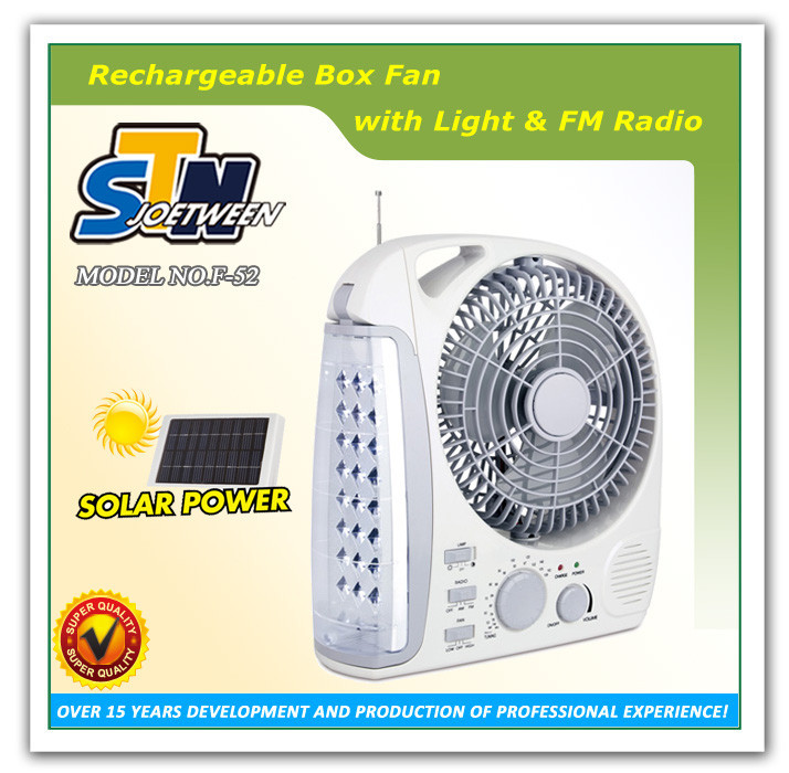 Emergency rechargeable solar operated fan with light
