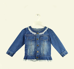 2016 Kids Jeans denim Jacket with lace ruffle