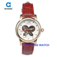 Butterfly skeleton mechanical girls wrist watch with leather band