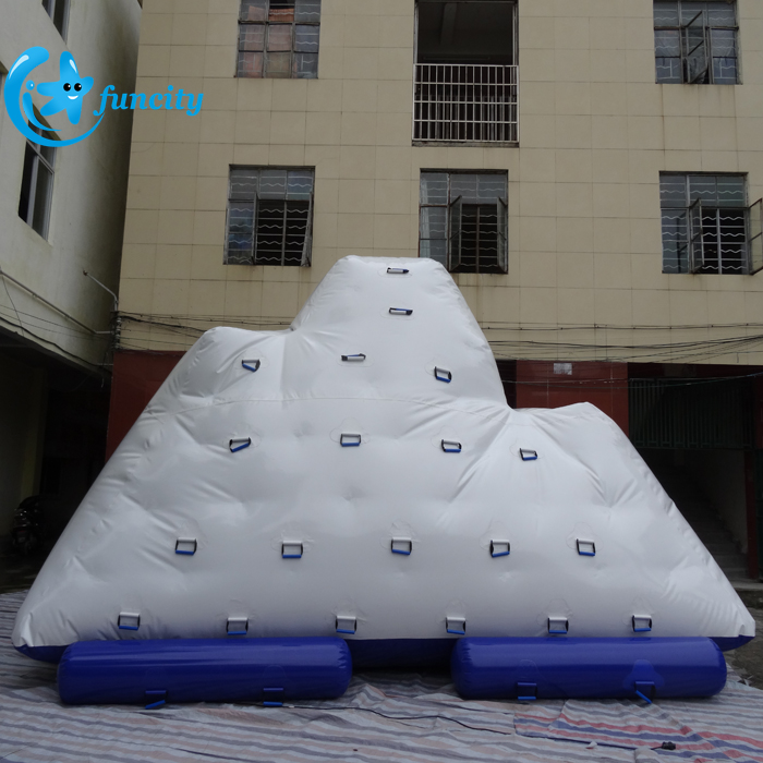 Exciting water games giant floating inflatable climbing water iceberg for seashore