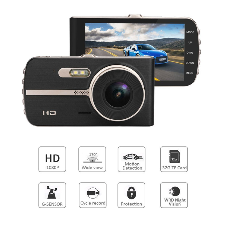 4 Inch IPS Novatek 96655 Full HD 1080P WDR Car DVR Dual Lens Dash Cam E4 with G-sensor & Motion Detection