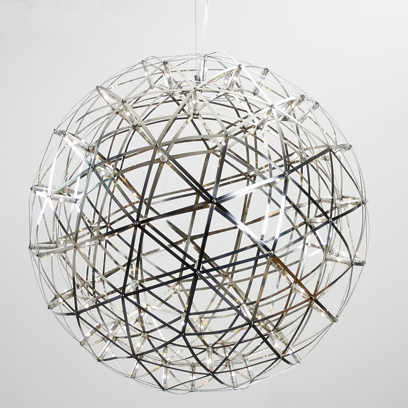 Modern Stainless Steel Circle Pendant Lights LED Firework style Spark Ball Lamparas Suspension Luminaire