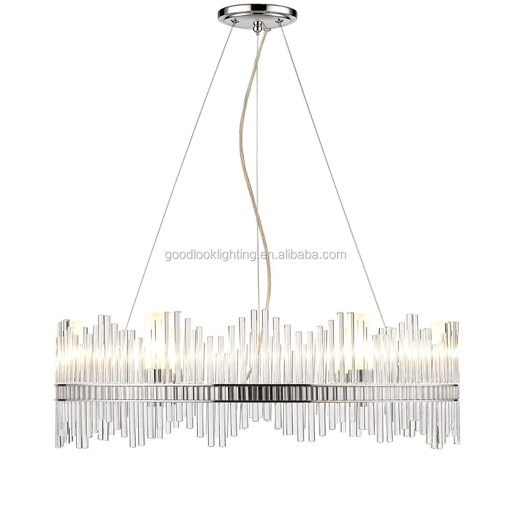 (C)UL & ETL listed adjustable modern clear acrylic rods pendant chandelier lighting with polished chrome/ nickel finish