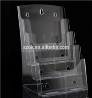 Factory price 3 ties acrylic brochure holder slatwall leaflet holder