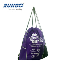 Wholesales cheap recycled custom promotion standard custom punching polyester drawstring backpack bag
