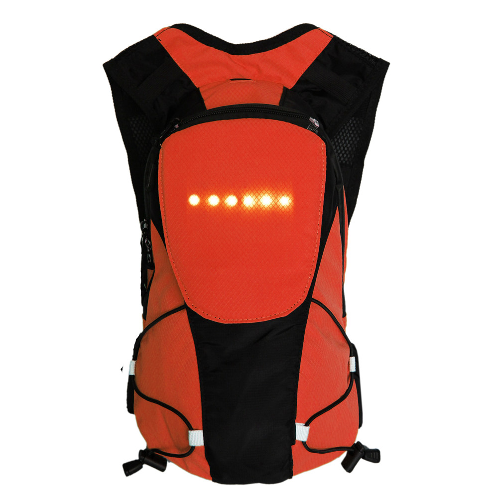Bikeman 5L Wireless Control Light-up Warning Cycling <strong>Backpack</strong> (Orange)