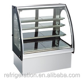 SG380FC Surpass CE approved S/S refrigerated cake display arc glass showcase