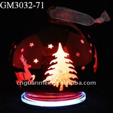 LED lighted Laser engraved xmas round glass ball with tree and deer