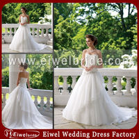 M184 White Backless Organza And Lace Wedding Dress 2014